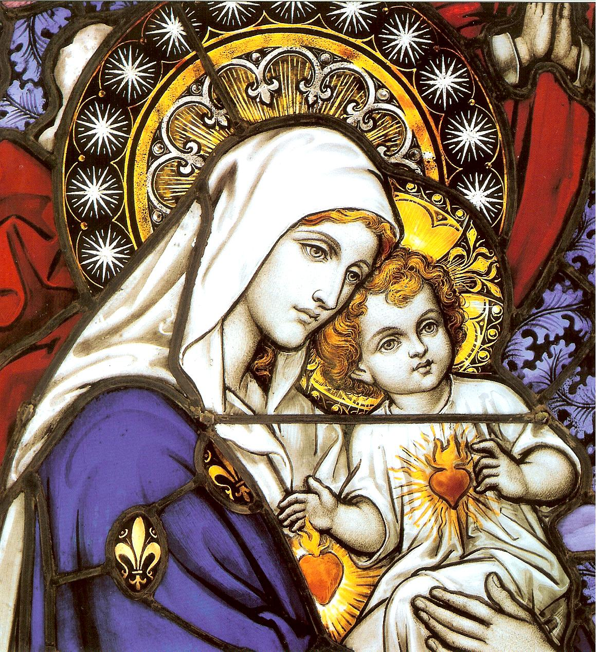Coeur de Jésus et de Marie - vitrail