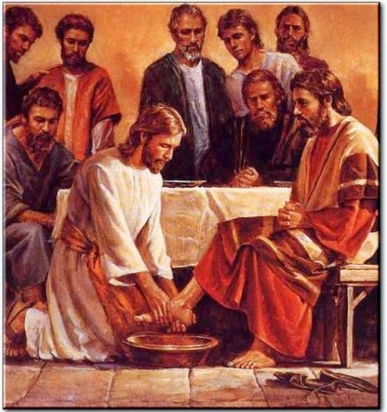 Jésus lavant les pieds de ses apôtres le jeudi saint