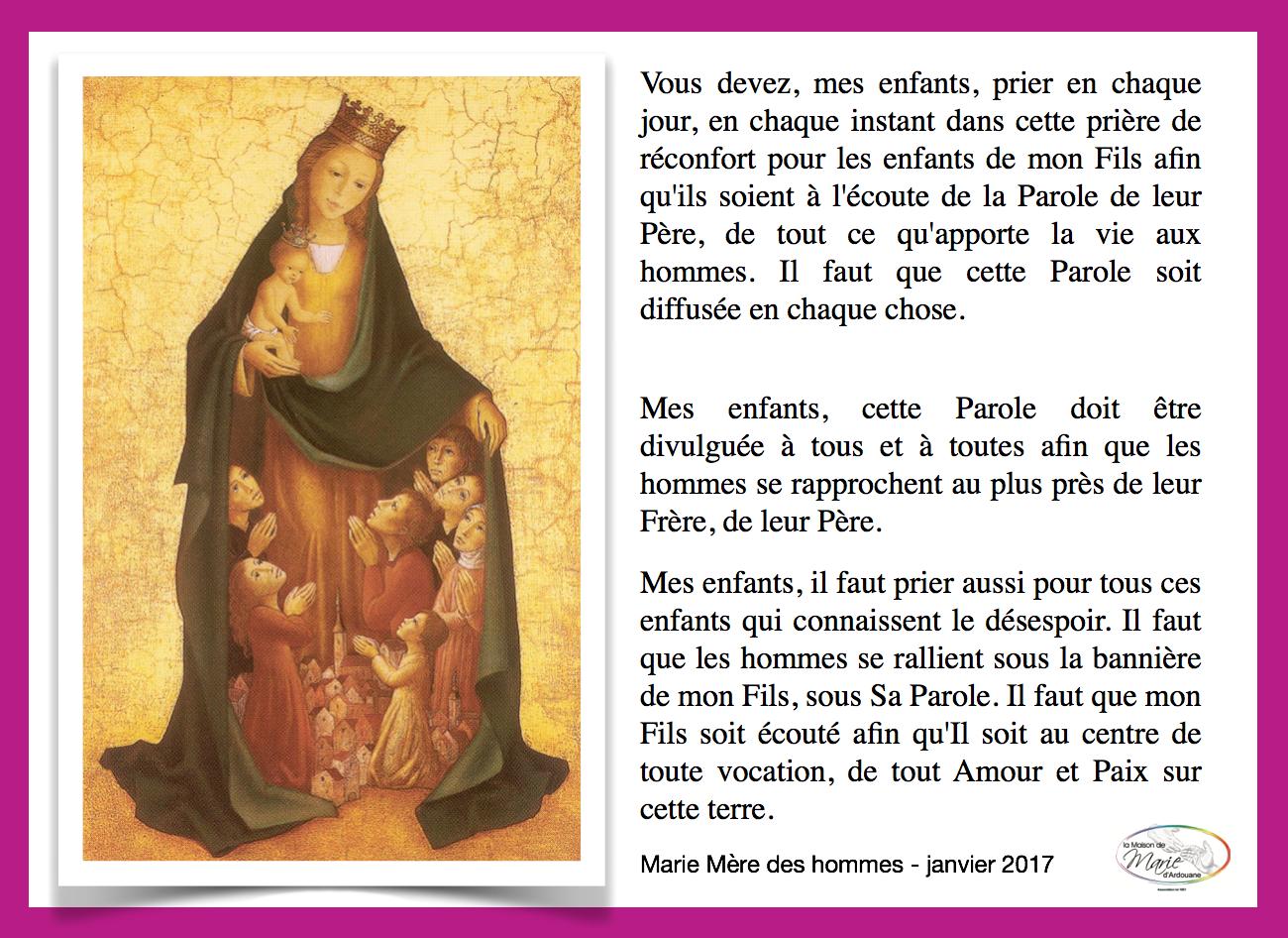 En union de prière, tous les vendredis soir, à la demande de Marie Mère des hommes, de 21h30 à 22h00.