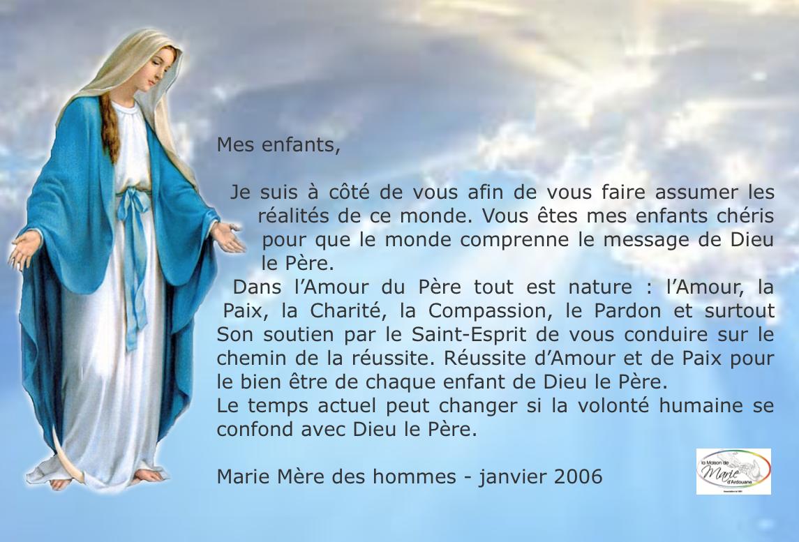 En union de prière, à la demande de Marie Mère des hommes, tous les vendredis soir, de 21h30 à 22h00.